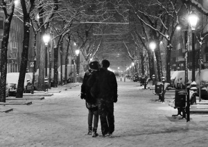 CoupleOnSnowyStreet